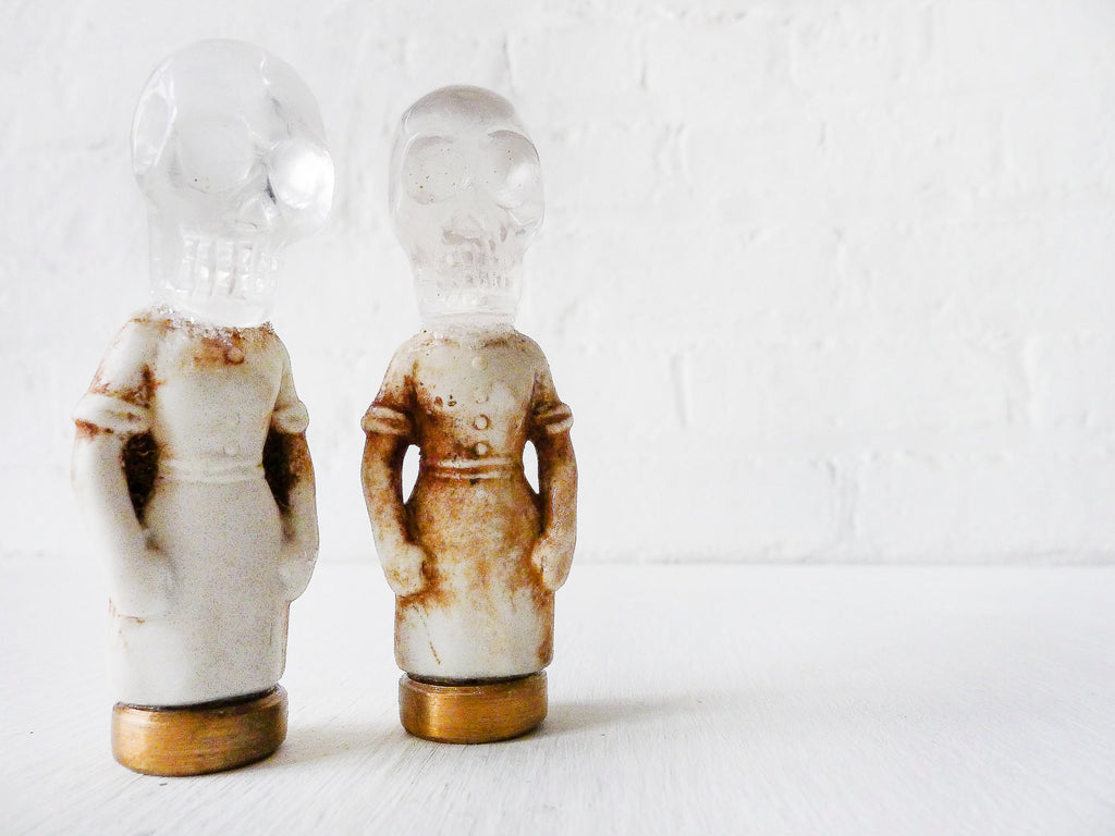 Tilda Twinz Skull Head Women Antique German Bisque Dolls with Quartz Crystal Skull Heads