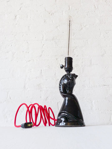 10% SALE Black Beauty Stallion Vintage Lamp with Red Textile Cord and Tubular Light Bulb