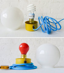 20% SALE Clockwork Orange Retro Table Lamp with Blue Textile Cord