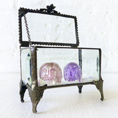 Two REAL Cubic Zirconia Carved Skull Twinz Beveled Glass Jewelry Box with Glitter Mica Embellishment