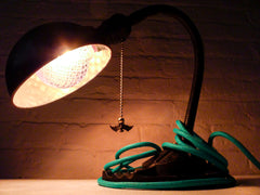 Black Vintage Industrial Gooseneck Lamp With Hanging Bat and Aqua Textile Cloth Color Cord
