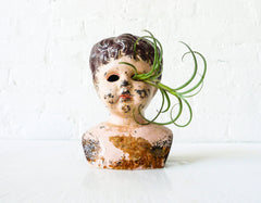 Large Antique German Tin Doll Head Air Plant Garden Creepy Beautiful Brunette Distressed Bust
