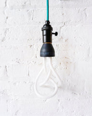 Teal Color Textile Cloth Pendant Hanging Plumen Light Custom Designed