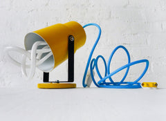 20% SALE Vintage Yellow Theater Spotlight Sconce or Table Lamp - Blue Color Cord - Plumen