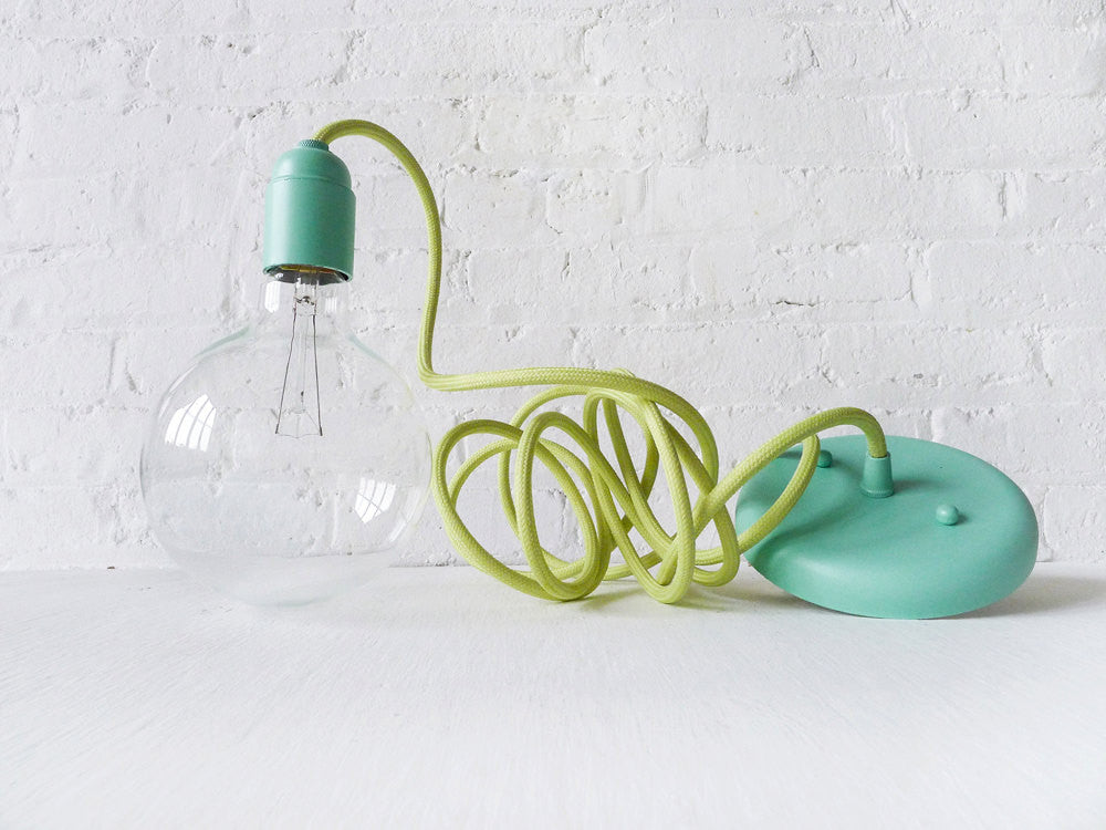 Light Green Color Textile Pendant Hanging Light w/ Pastel Blue Mint Hardware - Custom Designed