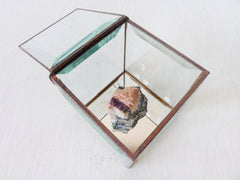 Crystal Mountain Treasure Box - Beveled Glass Jewelry Display - Tourmaline Matrix Quartz