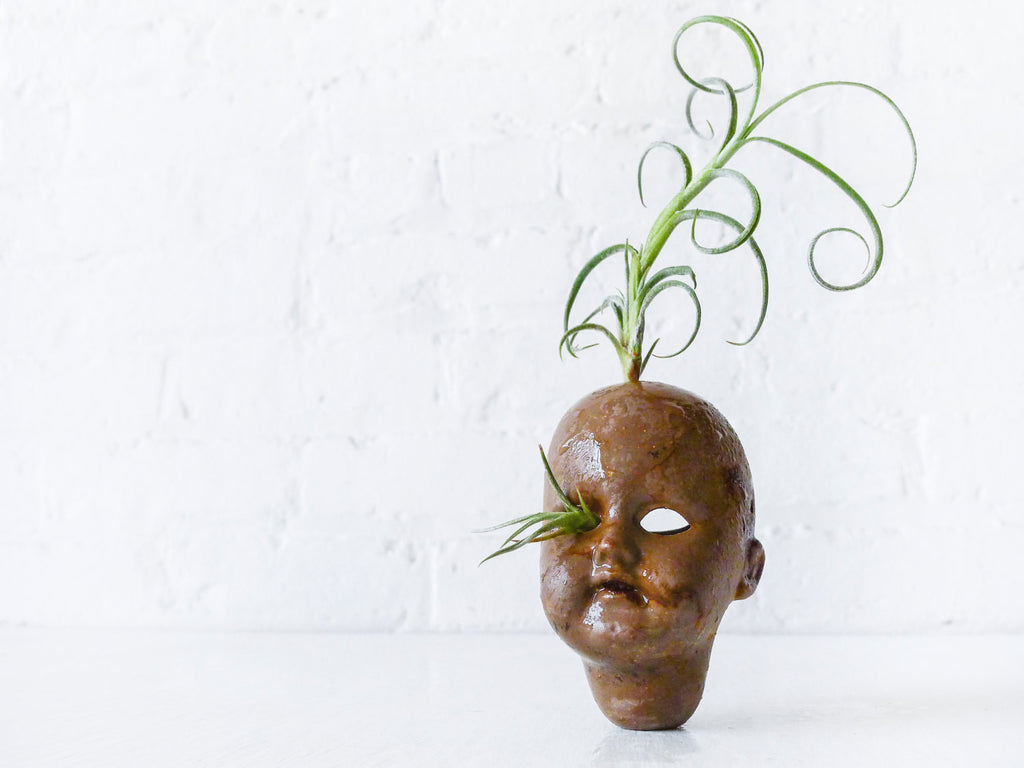 ON SALE - Distressed Creepy German Zinc Doll with Air Plant