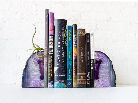 30% SALE Air Plant Planetary Purple Book Ends - Crystal Bookends Air Plant Garden - Agate Geodes