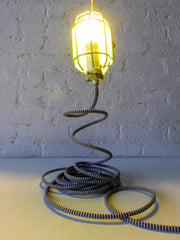 Vintage Industrial Neon Cage Lamp with Hook and Black and White Cloth Cord
