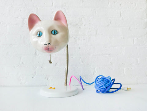Dinah's Delight Vintage Cat Head Lamp with Color Cloth Yarn Ball Cord