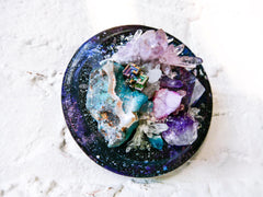 Wall Space Oddity - Crystal Galactic Explosion on Hanging Wood Plaque
