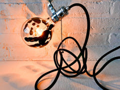 Handmade Handjob Industrial Clip Clamp Light w/ Black Textile Cord