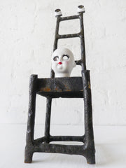 Eyeless Doll Face Antique German Bisque Doll Cast Iron High Chair