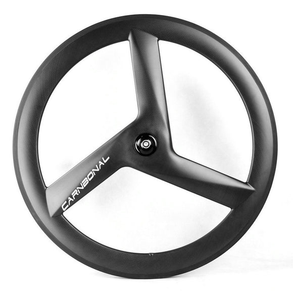 700C Carbon 23mm Wide 60mm Depth TUBULAR TT & Track Triple Spokes Front Wheels