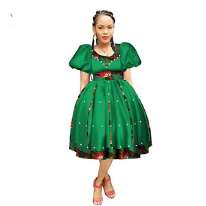 Robe Wax avec Jupe Ample - Robe-africaine.com - 8 / M