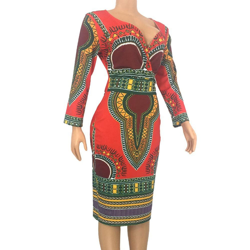 Robe Africaine Mi Longue - Robe-africaine.com - RED / S