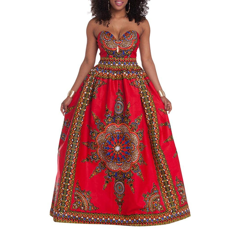 Robe Africaine Rouge sans manche - Robe-africaine.com - M