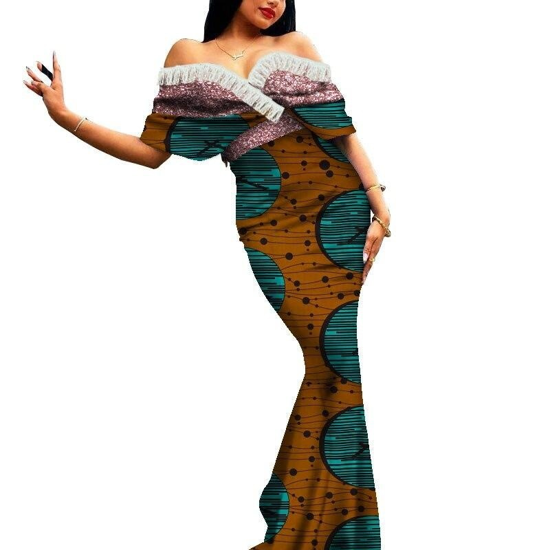 Robe Africaine Longue Evasee Organza - Robe-africaine.com - 2 / M