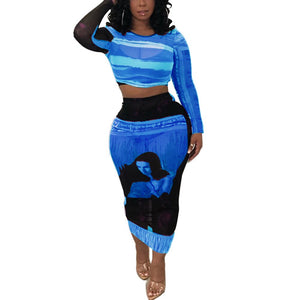 Tenue Africaine Unicolore en deux temps - Robe-africaine.com - Blue / S