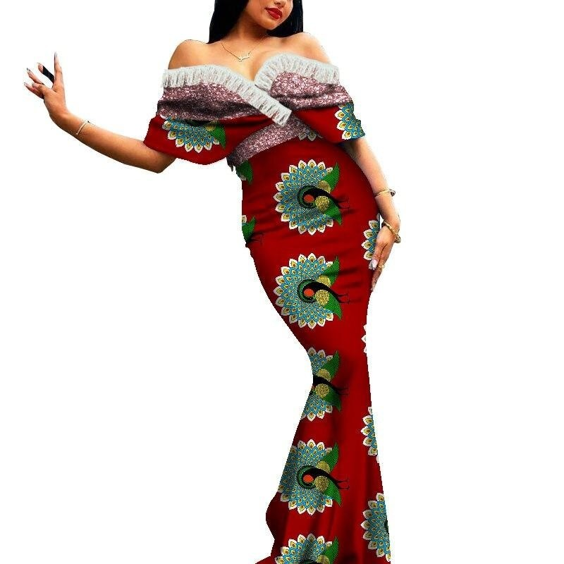 Robe Africaine Longue Evasee Organza - Robe-africaine.com - 1 / M