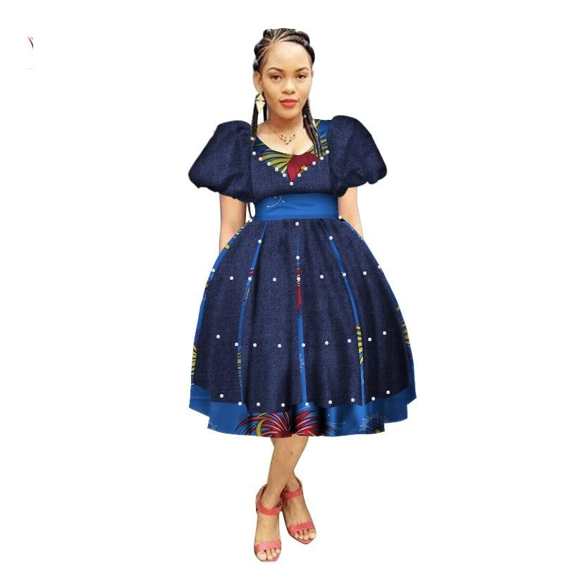 Robe Wax avec Jupe Ample - Robe-africaine.com - 2 / M