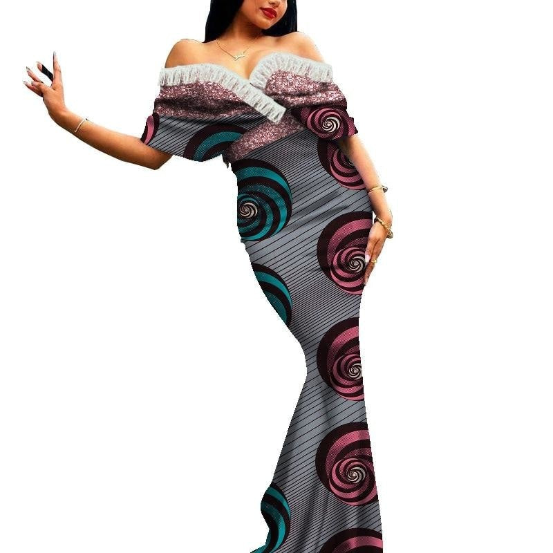 Robe Africaine Longue Evasee Organza - Robe-africaine.com - 10 / M