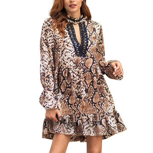 Robe Africaine style reptilien - Robe-africaine.com - Champagne / S