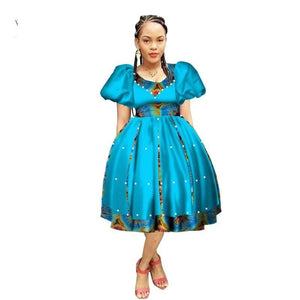 Robe Wax avec Jupe Ample - Robe-africaine.com - 6 / M