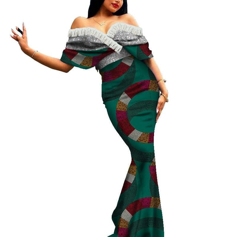 Robe Africaine Longue Evasee Organza - Robe-africaine.com - 9 / M