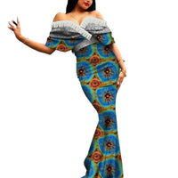 Robe Africaine Longue Evasee Organza - Robe-africaine.com - 8 / M