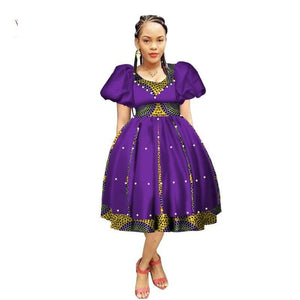 Robe Wax avec Jupe Ample - Robe-africaine.com - 9 / M