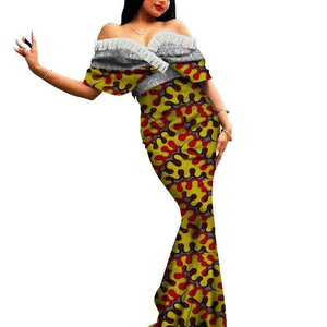 Robe Africaine Longue Evasee Organza - Robe-africaine.com - 6 / M