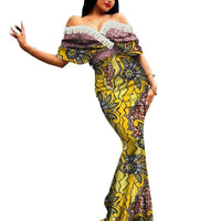 Robe Africaine Longue Evasee Organza - Robe-africaine.com - 11 / M