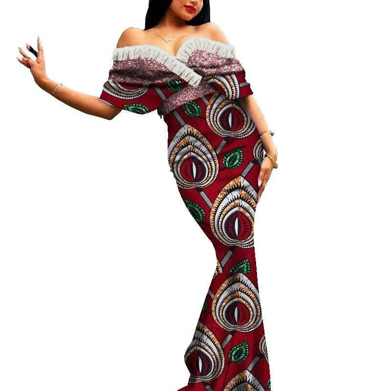 Robe Africaine Longue Evasee Organza - Robe-africaine.com - 3 / M