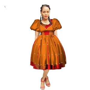 Robe Wax avec Jupe Ample - Robe-africaine.com - 3 / M