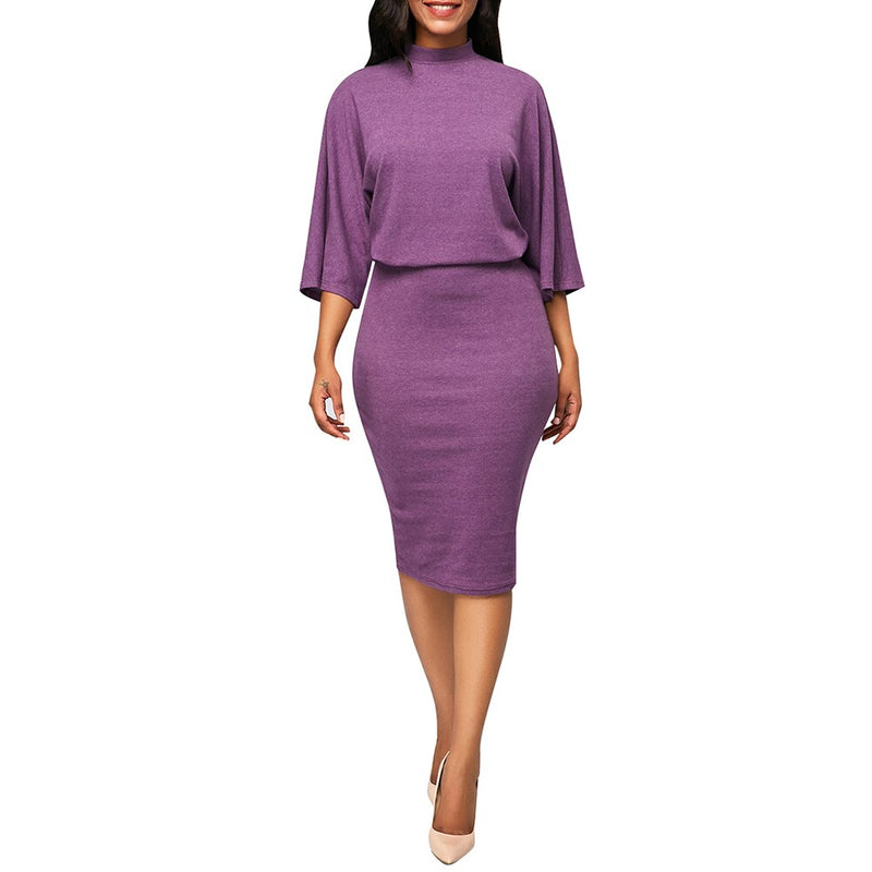 Robe trois quart 3/4 chic - Robe-africaine.com - Purple / S