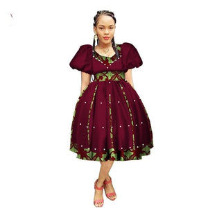 Robe Wax avec Jupe Ample - Robe-africaine.com - 4 / M