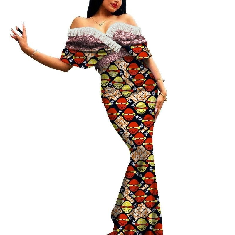 Robe Africaine Longue Evasee Organza - Robe-africaine.com - 5 / M