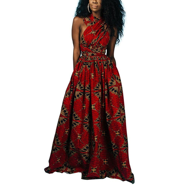 Robe longue africaine en pagne - Robe-africaine.com - M04 / S