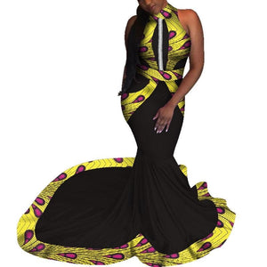 Robe Wax avec Traine - Robe-africaine.com - [variant_title]