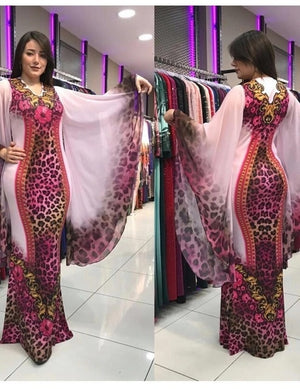 Boubou Africain Panthère Rose - Robe-africaine.com - 18 / L