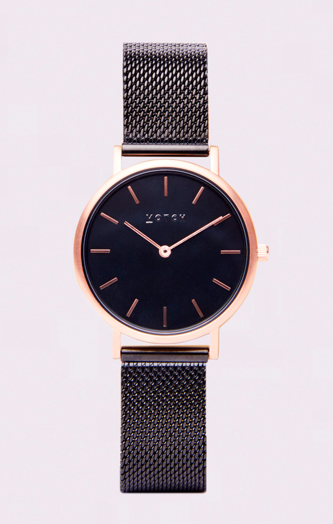 Classic Mesh Petite Watch Rose Gold/Black