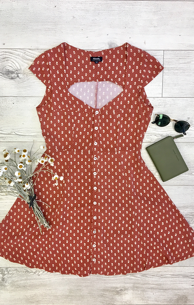 Tess Polka Floral Dress Scarlet