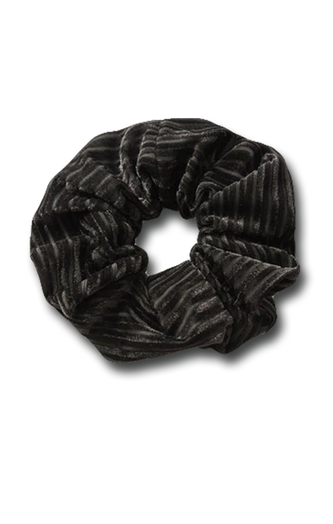 Velvet Cord Scrunchie Black