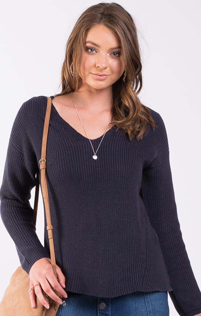 Refined Knit Top Charcoal