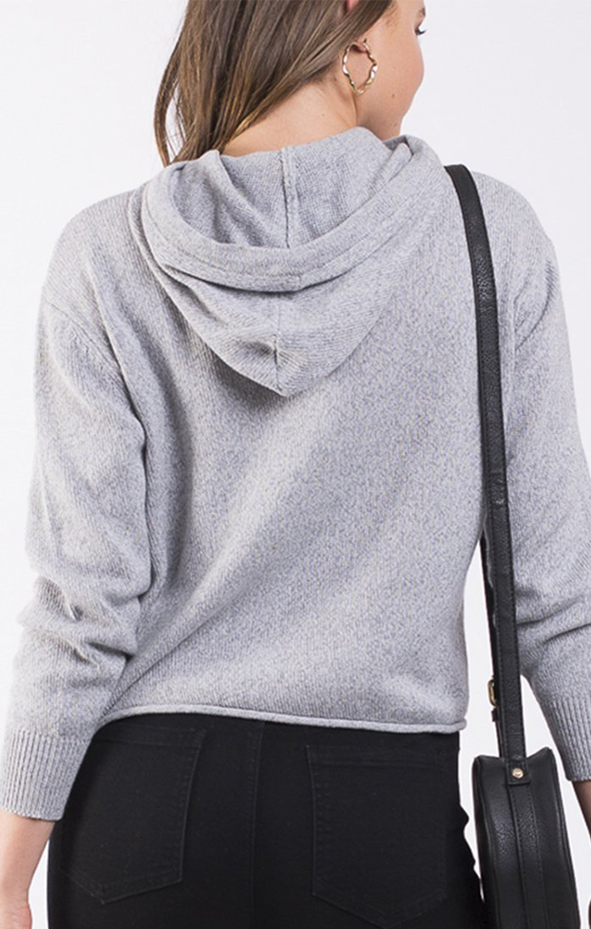 Solid Knitted Hoody Grey Marle