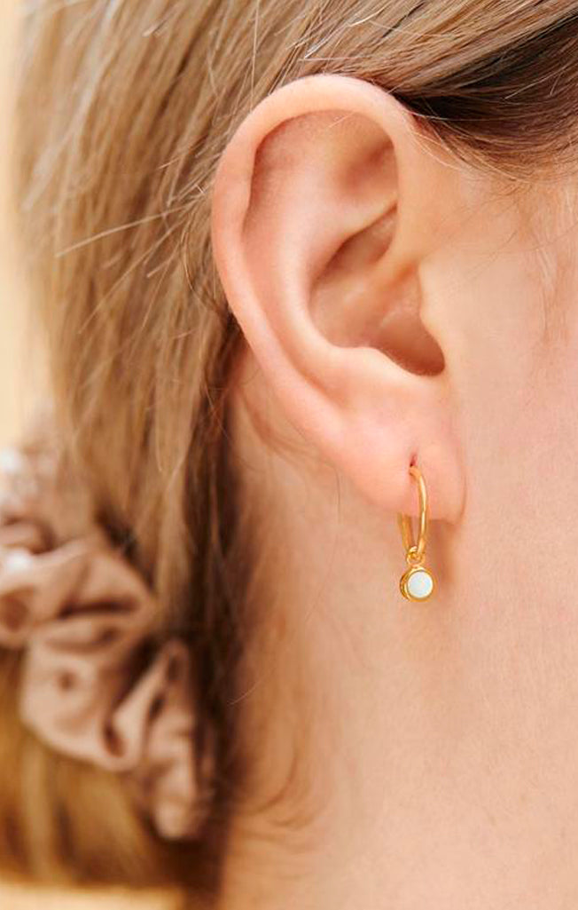 Gold Orbit Pearl Hoops