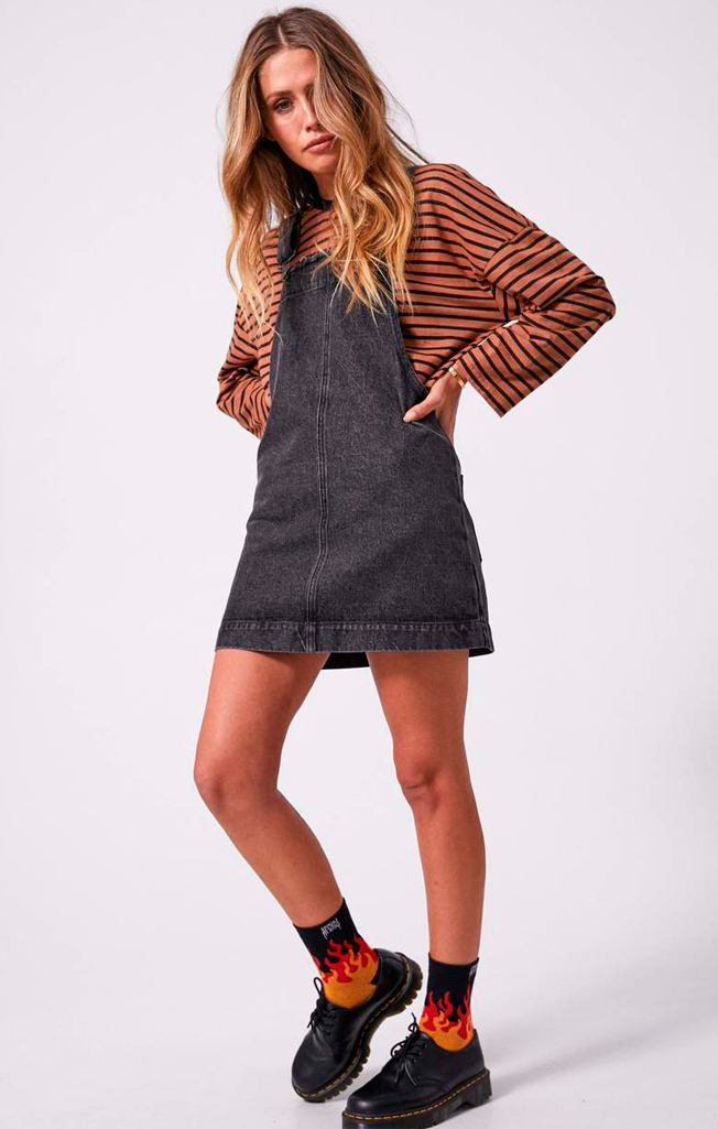 Mae Denim Overall Dress Stone Black