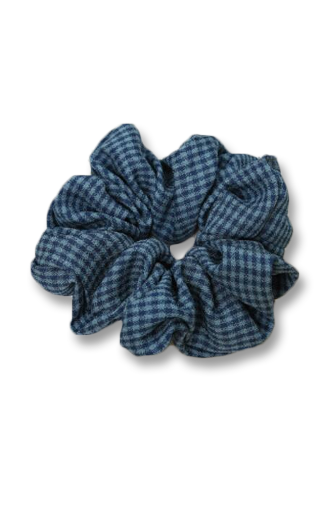 Gingham Scrunchie French Blue