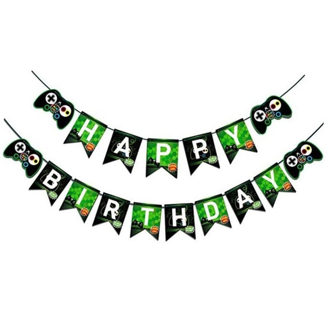 Happy Birthday Banner, Gaming Party Supplies With Game On & Level Up Pictures, Party Favors Decorations For Boys